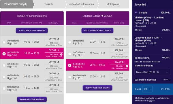 Galutinė skrydžio kaina