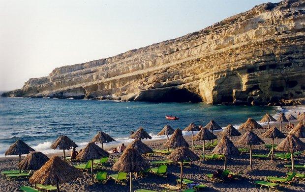 Matala paplūdimys Kretoje